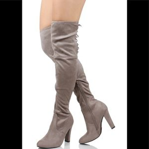 Light taupe back lace tie over the knee dress boot